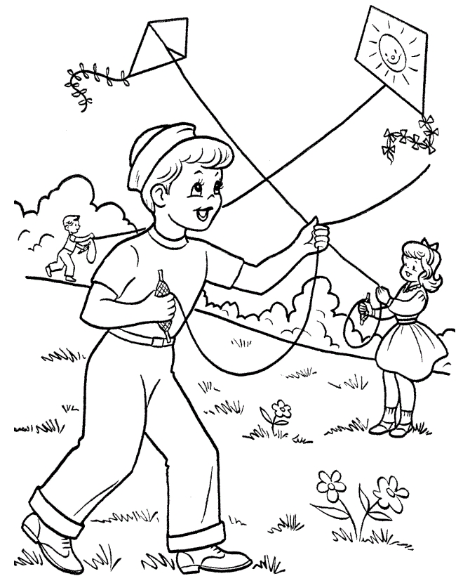 coloring pages online - kite color page