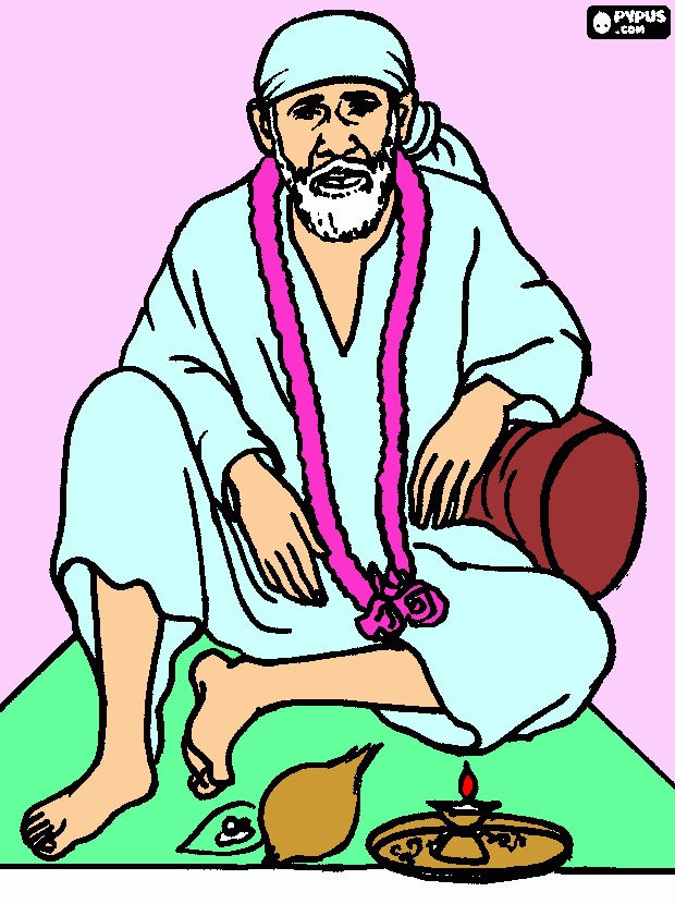 coloring pages to color online for free - coloring page shirdi sai baba