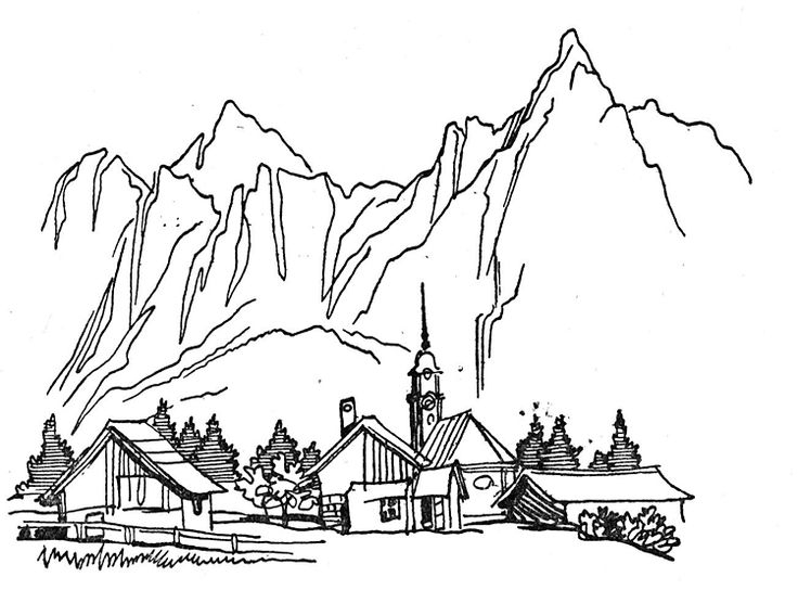 Coloring Pages to Print - Dorf In Den Bergen Malvorlagen 750×555