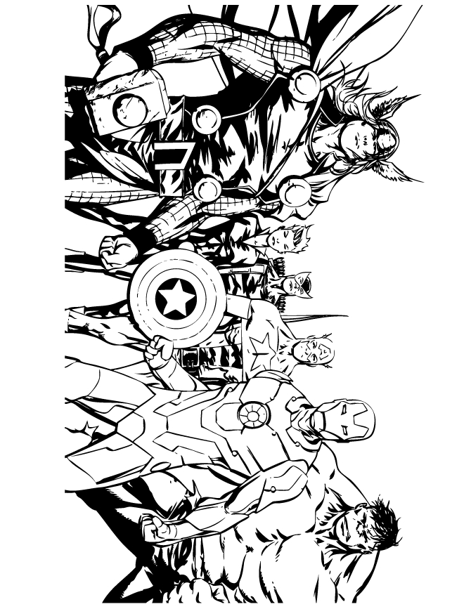 comic book coloring pages - avengers ic