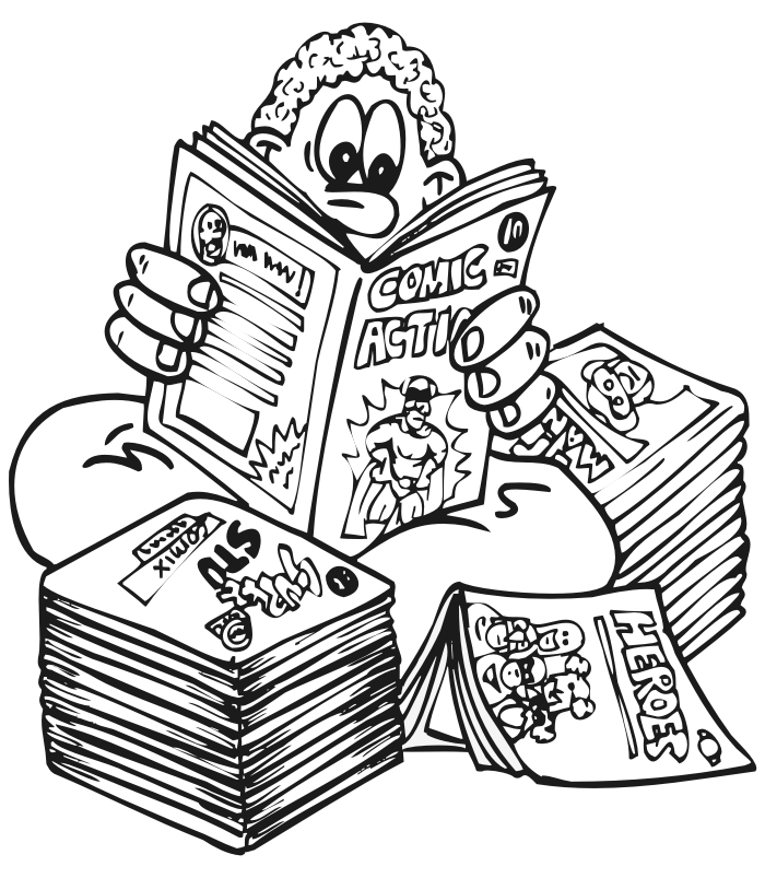 comic book coloring pages - kid reading ics