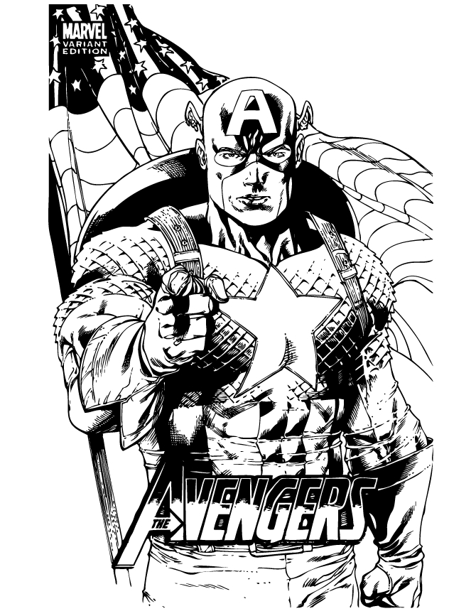 comic book coloring pages - marvel ic captain america