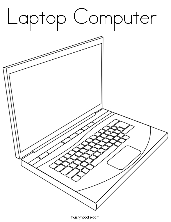 computer coloring pages - laptop puter coloring page