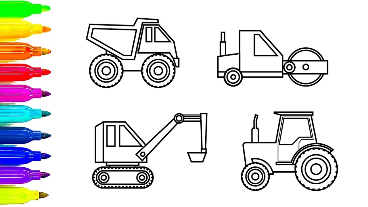 construction truck coloring pages - watch v=5JuhJRkUI2g