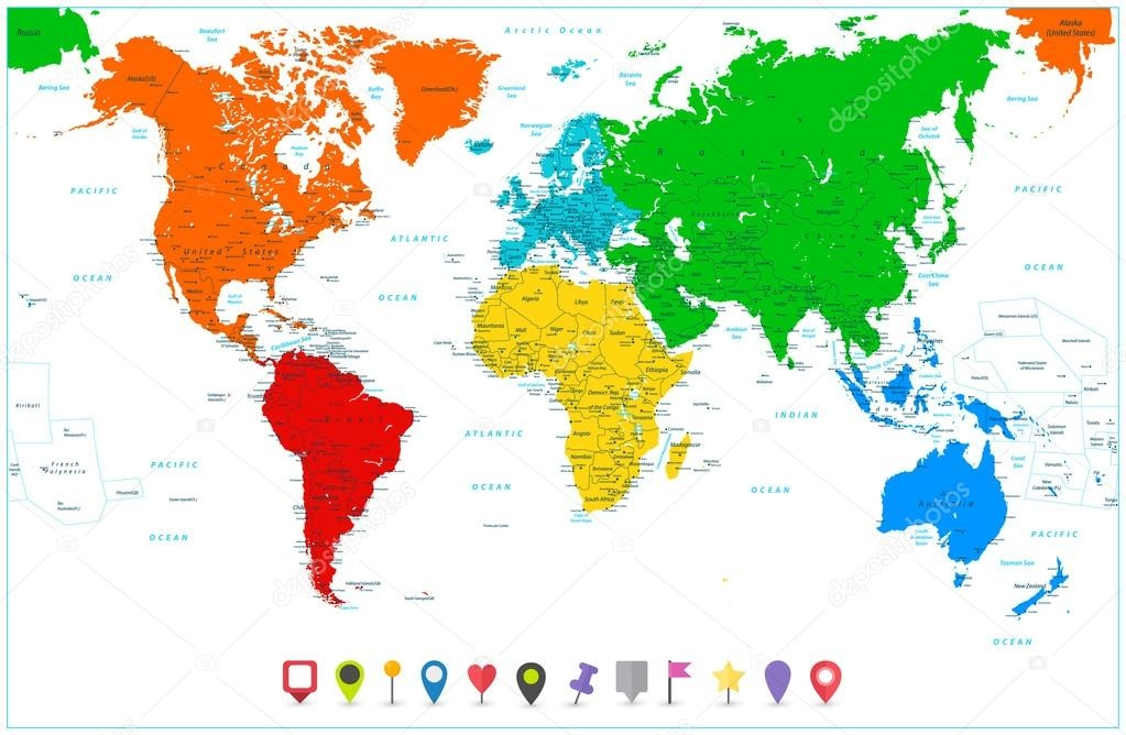 continents coloring page - stock illustration world map with colorful continents