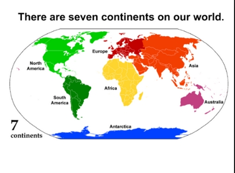 continents coloring page - the 7 continents