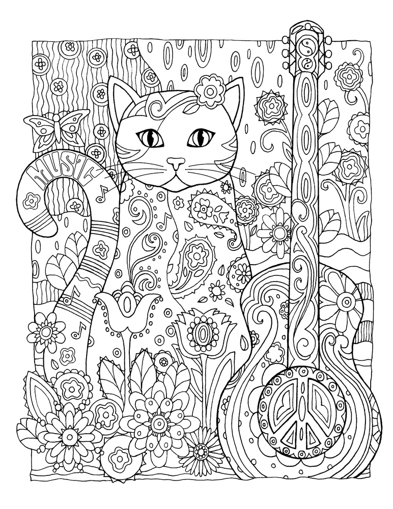cool coloring pages for adults - cat coloring pages for adults