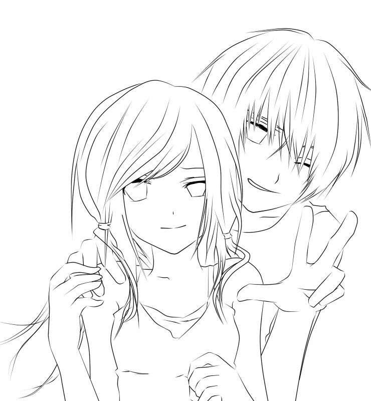 cool design coloring pages - anime boy and girl coloring pages