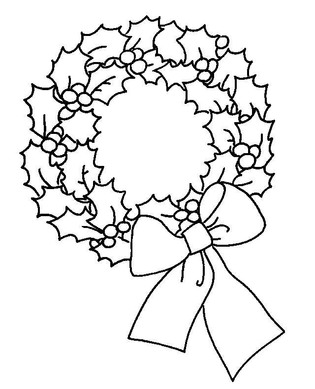 cool design coloring pages - christmas wreath pictures