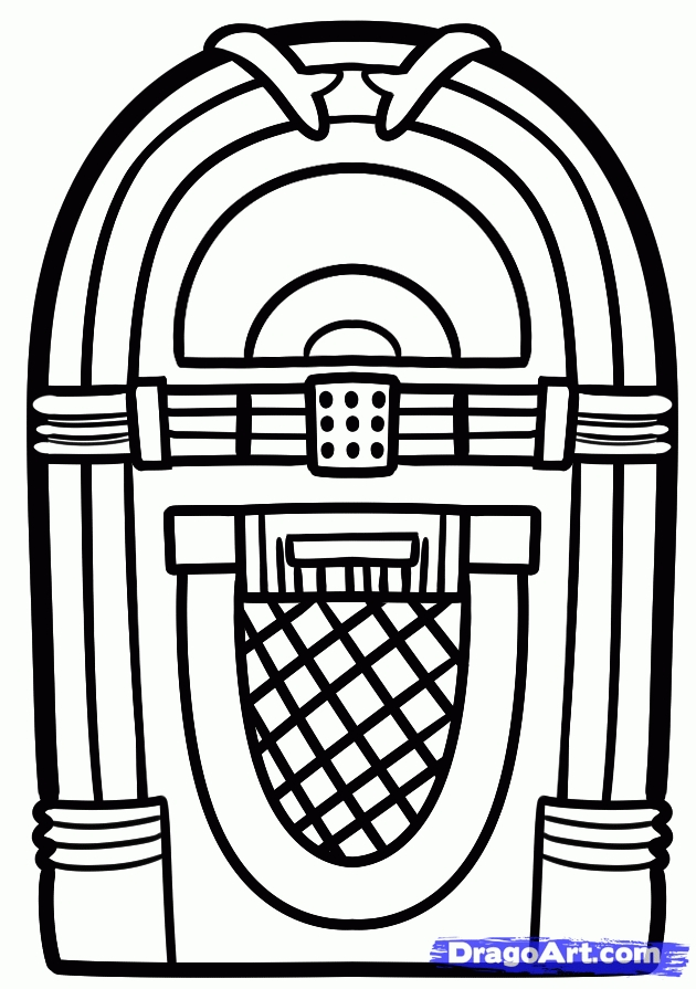 Cool Design Coloring Pages - How to Draw A Jukebox Step by Step Music Pop Culture