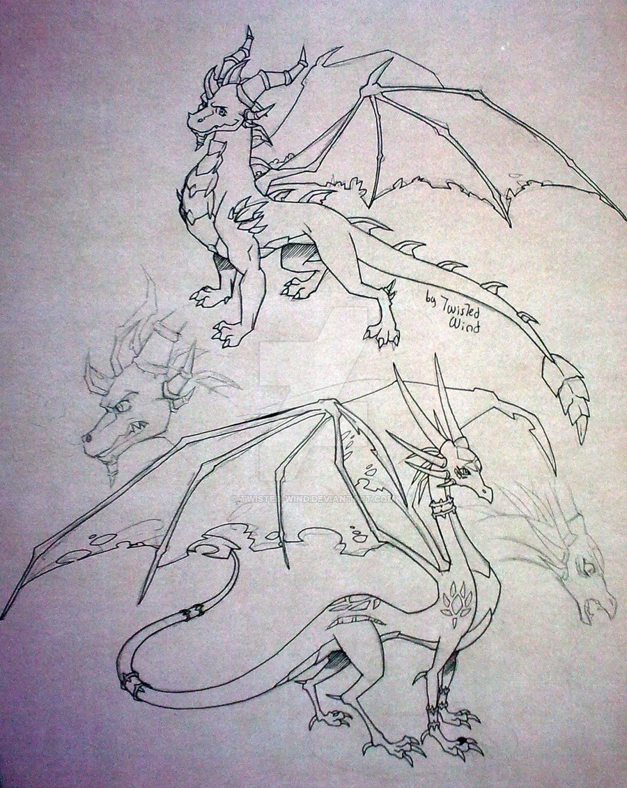 cool design coloring pages - Spyro and Cynder adult