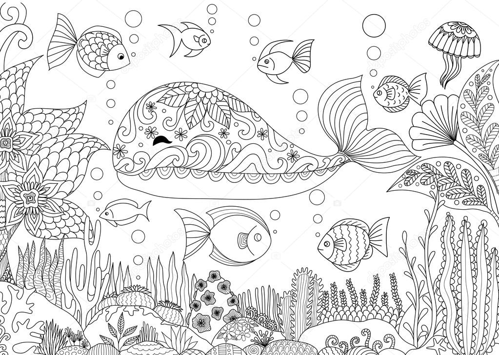 coral coloring pages - stock illustration doodles design of a little