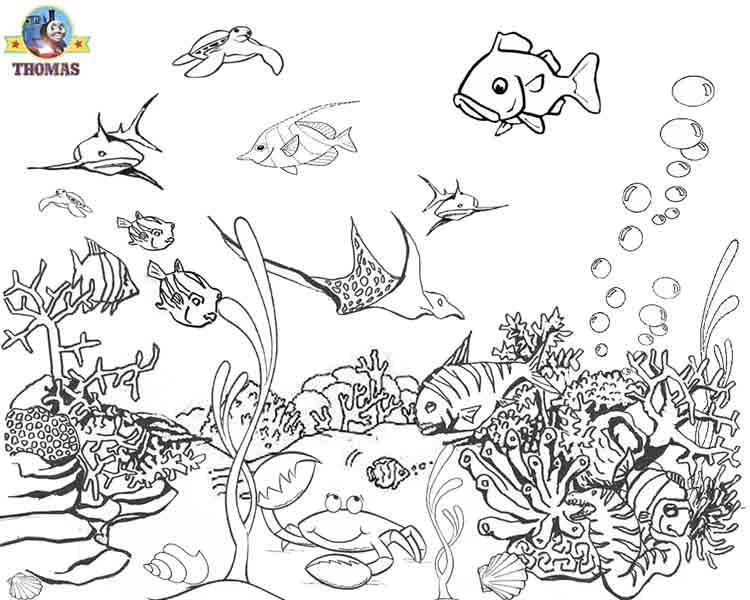 Coral Coloring Pages - Under the Sea Tropical Aquarium Tank One Fish Two Fish Red