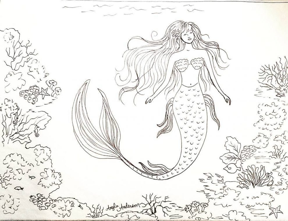 coral reef coloring page - printable pictures traceable mermaid 87 for your coloring pages for kids online with traceable mermaid