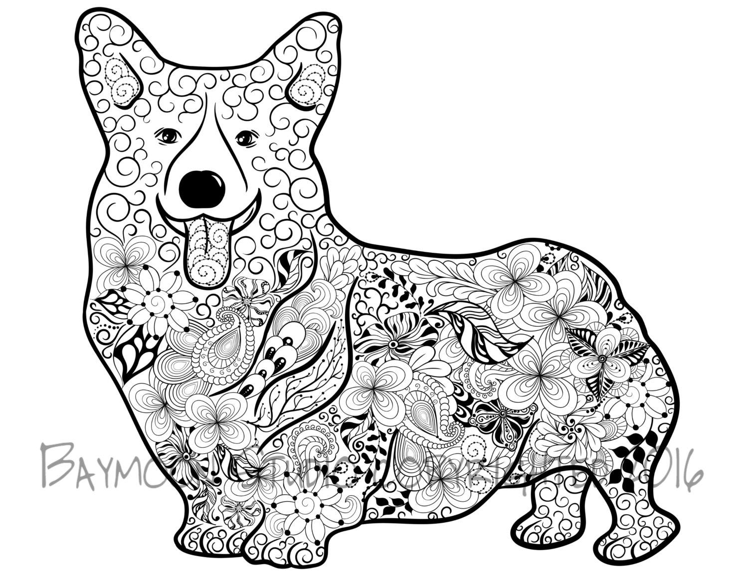 corgi coloring pages - pembroke welsh corgi coloring page