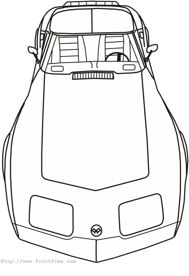 Corvette Coloring Pages - Late Seventies Corvette Front Outline Image