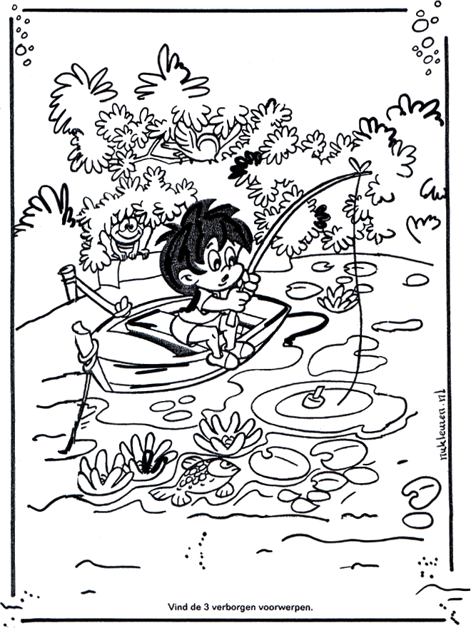 cowboy coloring pages - angeln 1