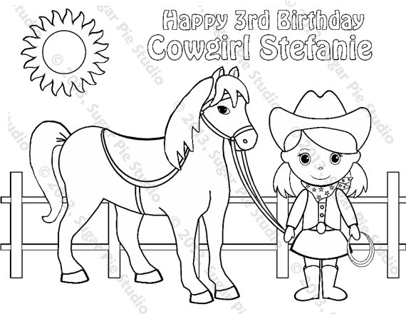 cowboy coloring pages - personalized printable cowgirl horse
