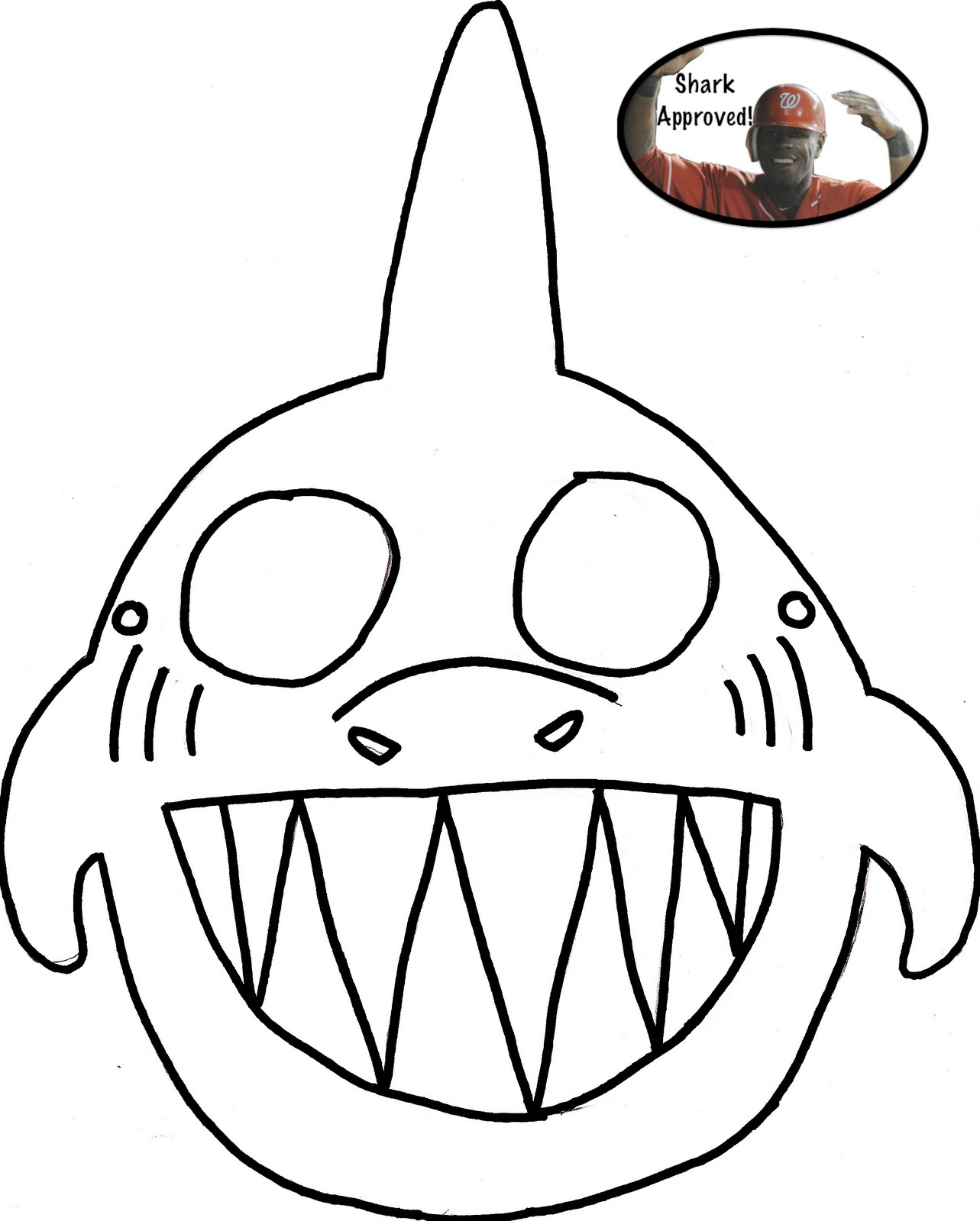 crab coloring pages - shark mask printable