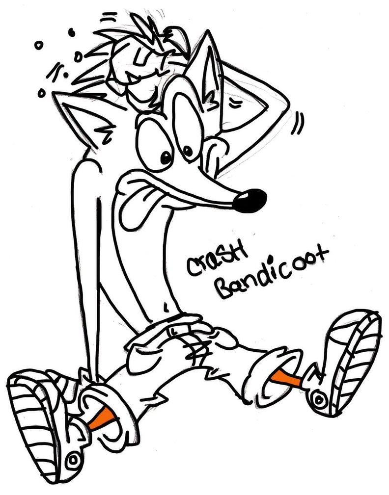 Crash Bandicoot Coloring Pages - Crash From Crash Bandit Coloring Coloring Pages