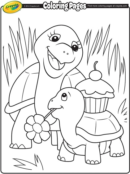 crayola coloring pages - turtle mommy coloring page