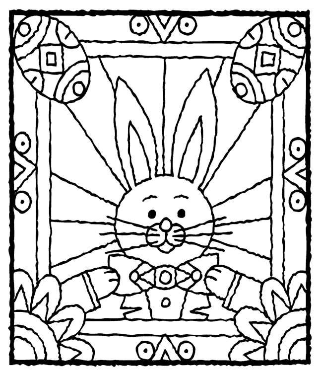 crayola free coloring pages - easter bunny with eggs coloring page
