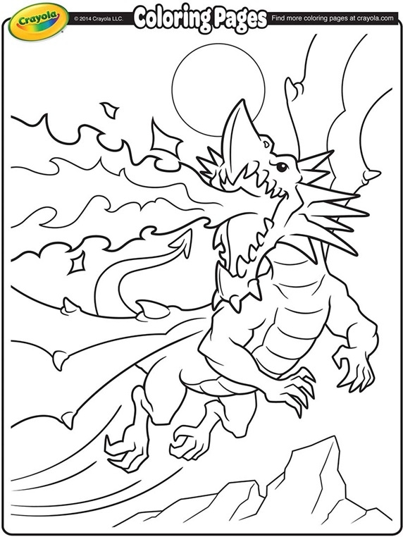 crayola giant coloring pages - fire breathing dragon coloring page