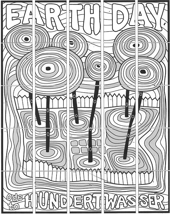 crayon coloring pages - earth day hundertwasser