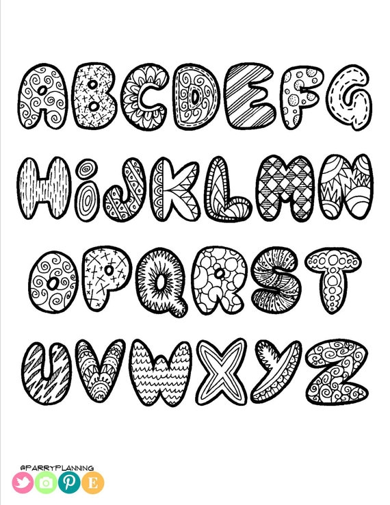 create your own coloring page - printable doodle alphabet printable