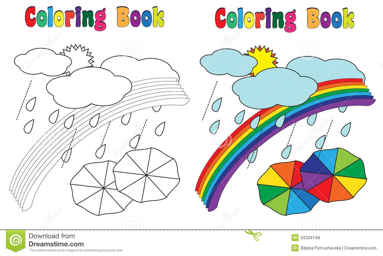 creation coloring pages - illustration stock ciel d arc en ciel de livre de coloriage image
