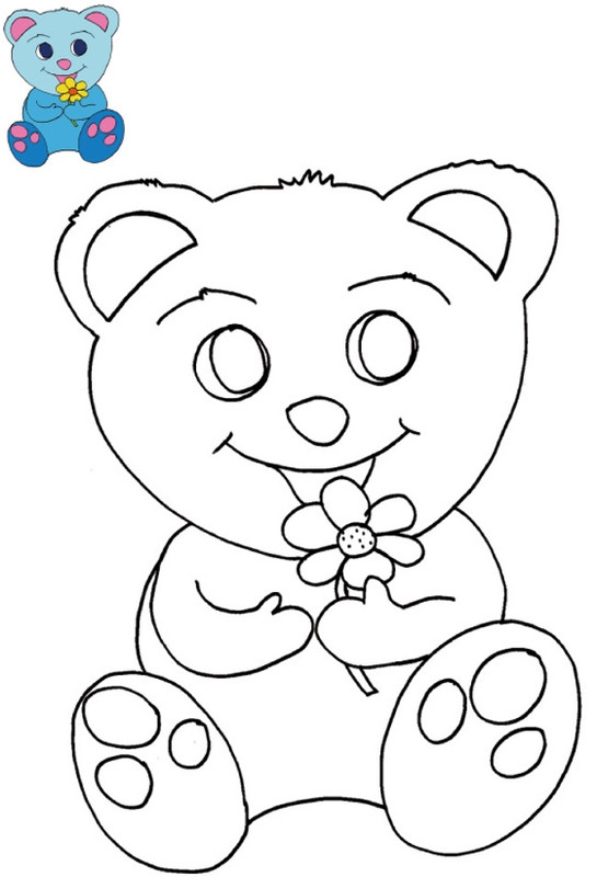 creation coloring pages - 1446 coloriage nounours bleu avec modele