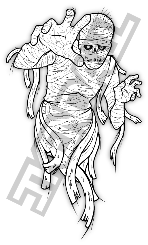 creepy coloring pages - mummy tattoo