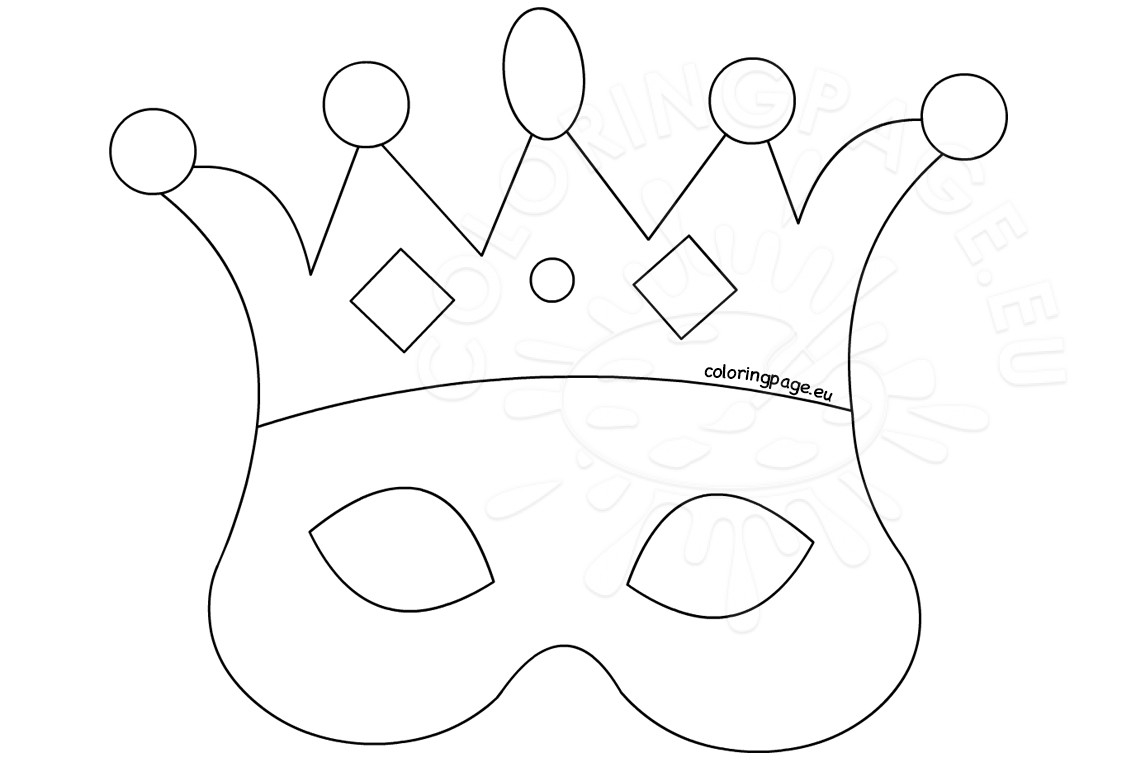 crown coloring page - paper crown party favor template