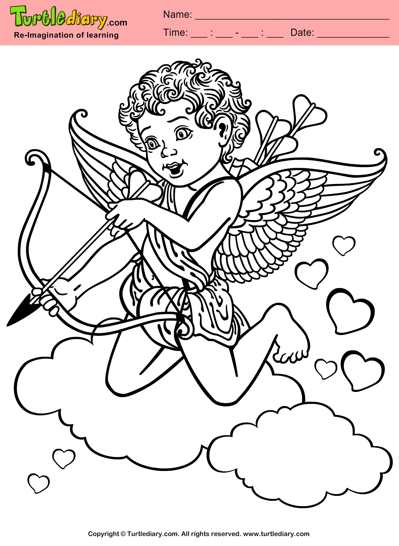 cupid coloring pages - cupid couloring sheets