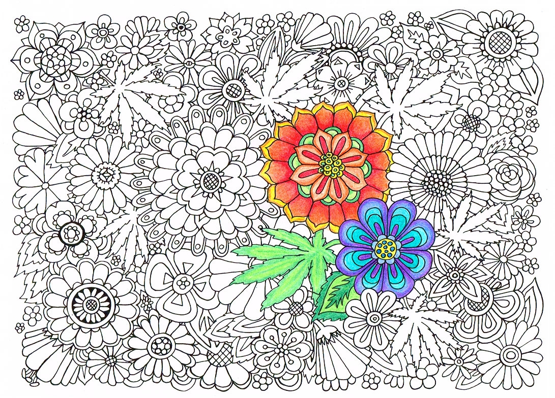 curse word coloring pages - adult coloring page hippie garden