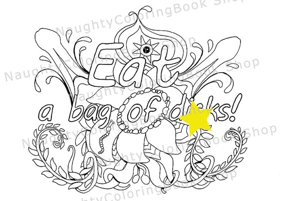 cuss word coloring pages - eat a bag of diks swear words printable