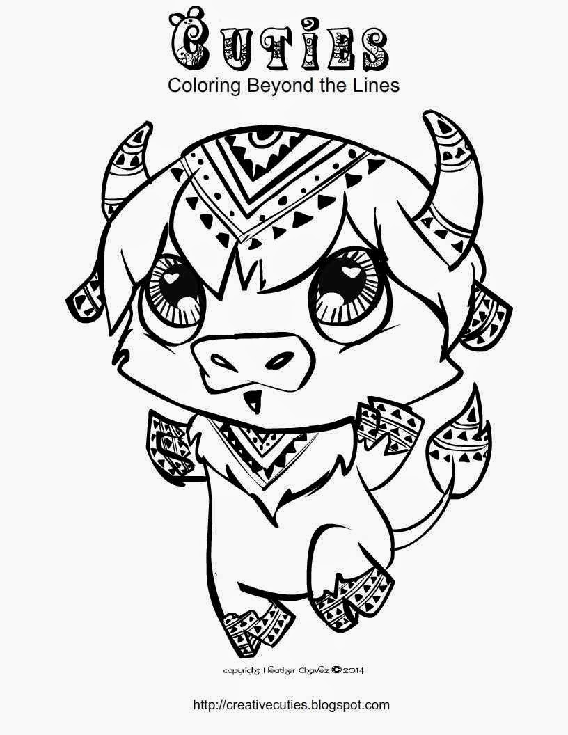 cuties coloring pages - buffalo coloring page