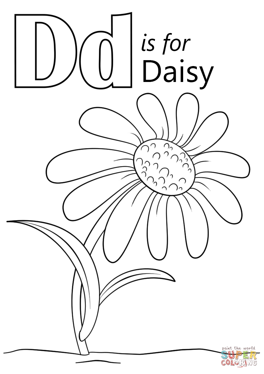daisy coloring pages - letter d is for daisy