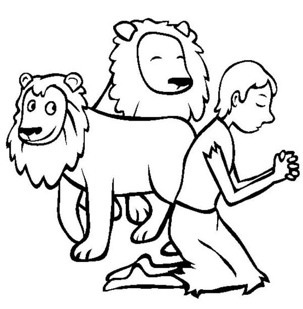 daniel in the lion's den coloring page - coloring page of daniel praying