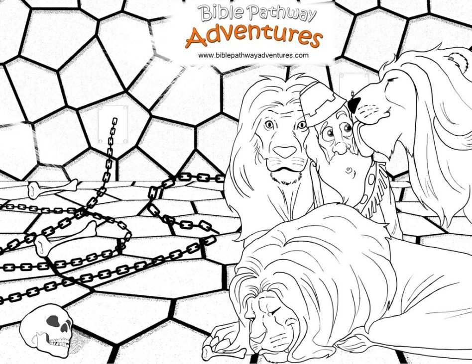 daniel in the lion's den coloring page - a coloring page from the bible story thrown to the lions the daniel in the lions den colouring pages free daniel in the lions den coloring pages
