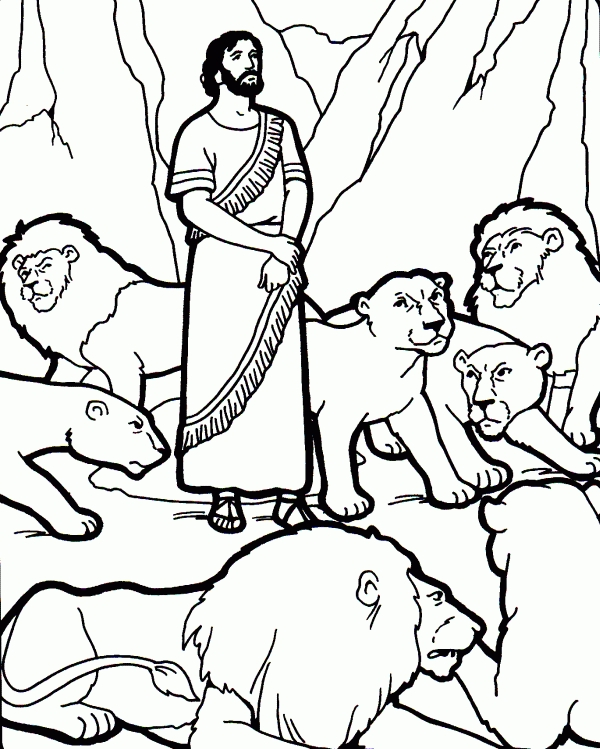 daniel in the lion's den coloring page -