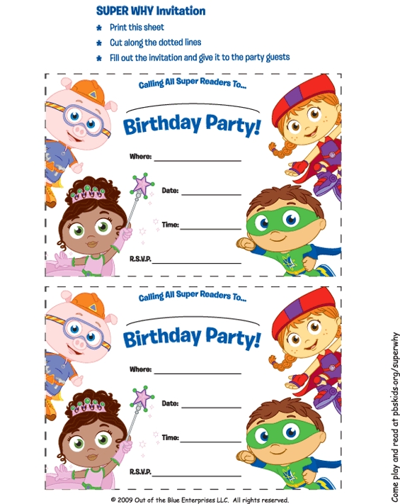 Daniel Tiger Coloring Pages - Super why Party Supplies Super why Invitations Birthday
