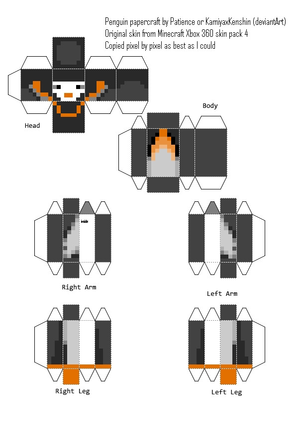 dantdm coloring pages - Minecraft Penguin Custom Papercraft