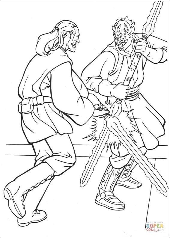 Darth Maul Coloring Page - Ausmalbild Darth Maul Gegen Qui Gon