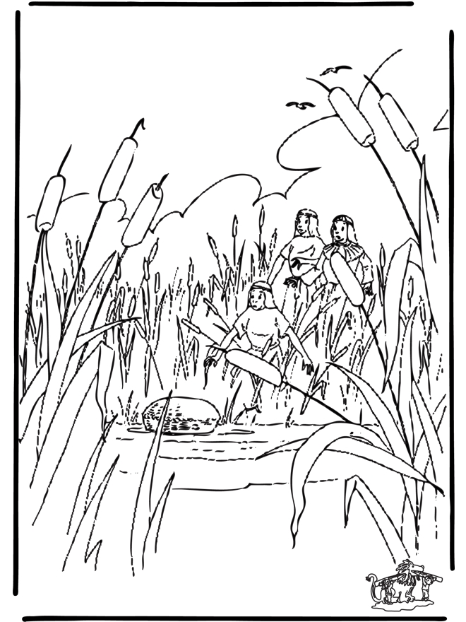 david and goliath coloring page - moses im korbchen