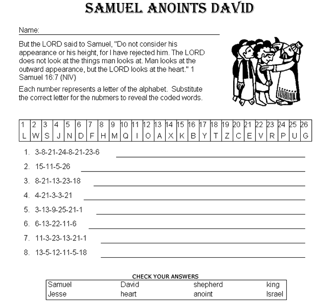 david and goliath coloring page - samuel anoints david decoder