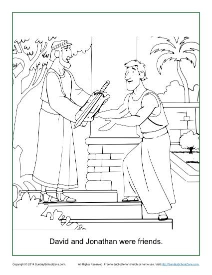 david and jonathan coloring page - david and jonathan were friends coloring page