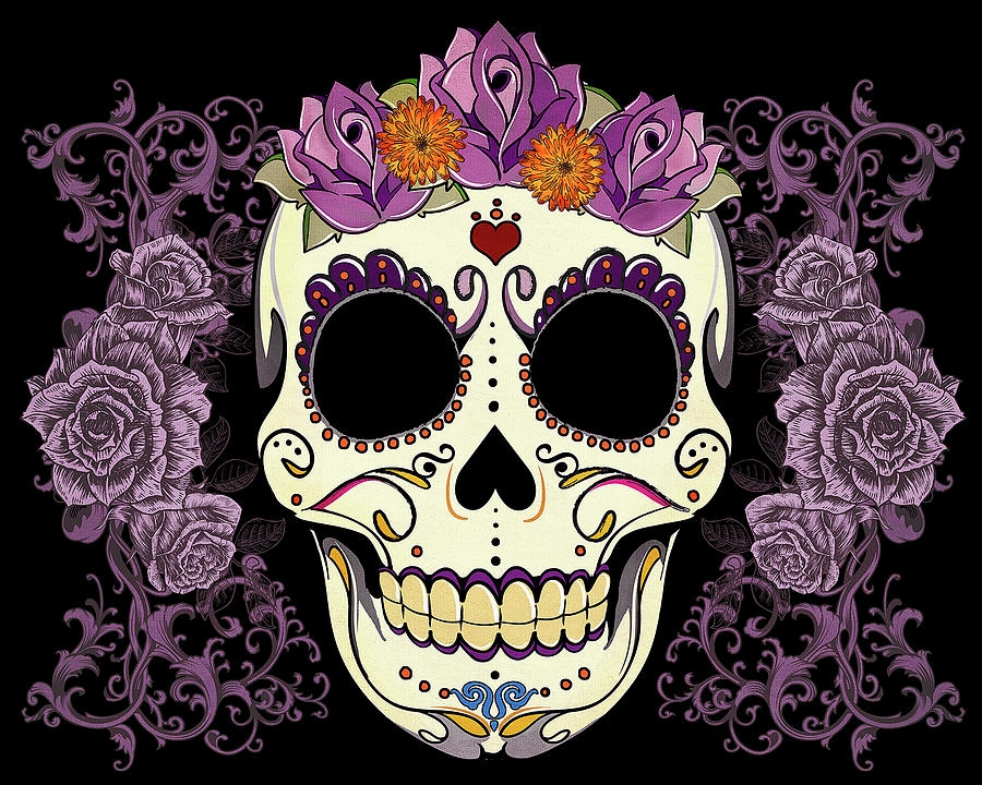 day of the dead coloring pages - vintage sugar skull and roses tammy wetzel