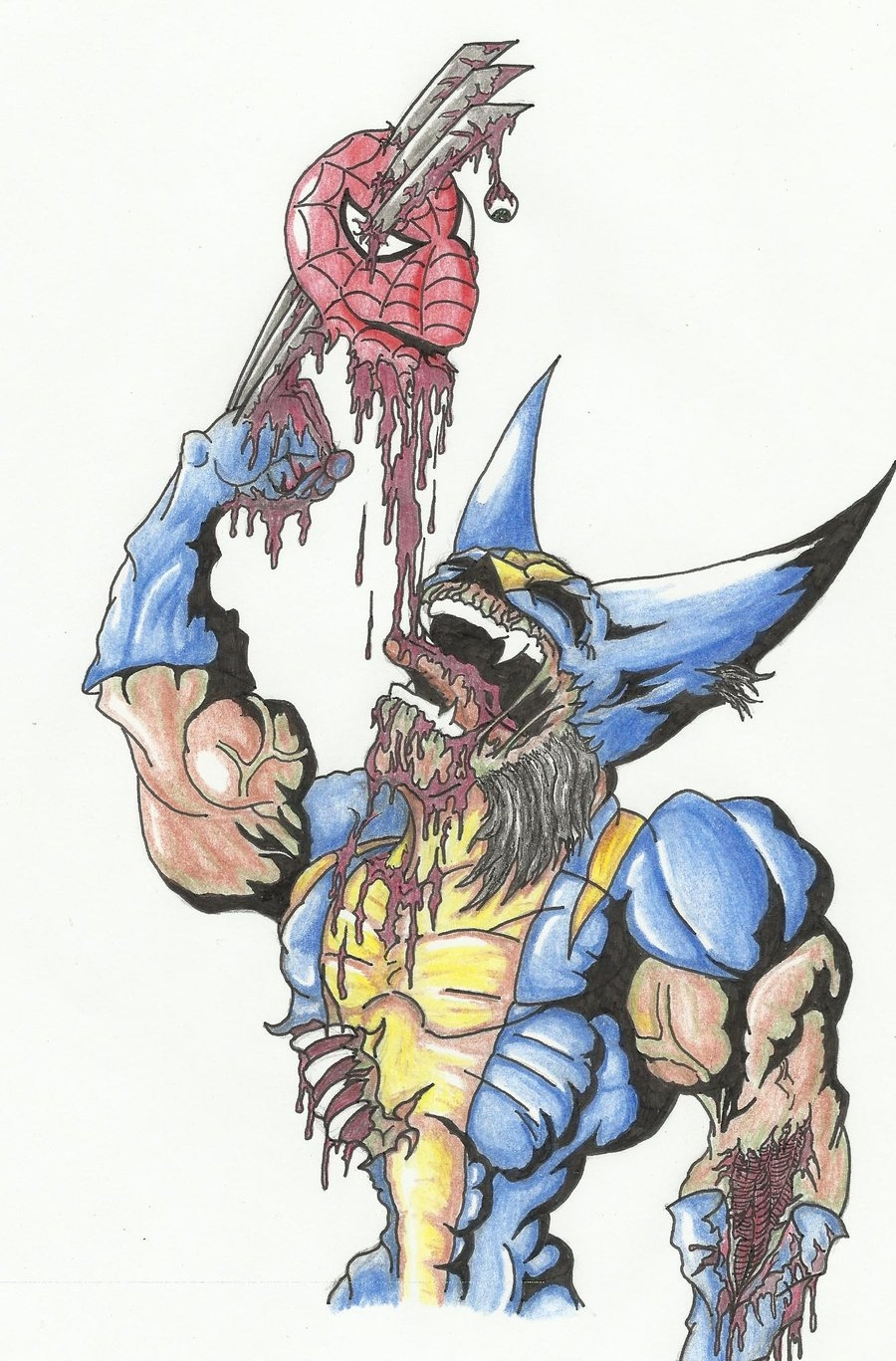 day of the dead coloring pages - ZOMBIE WOLVERINE colored