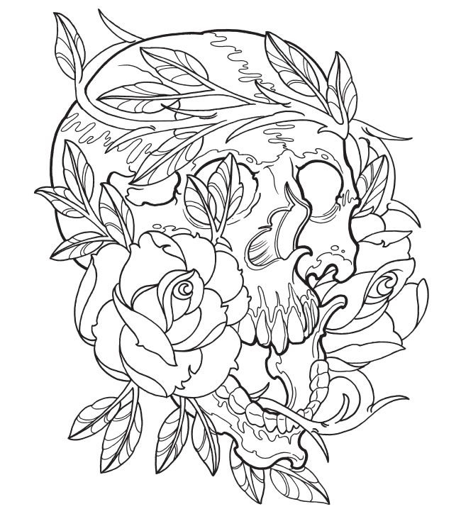 day of the dead coloring pages for adults - best tattoo coloring pages skull and rose 6280